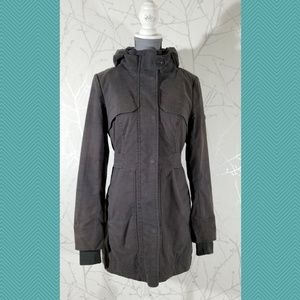 Three Stones Gray Insulated Full Zip Hooded Coat